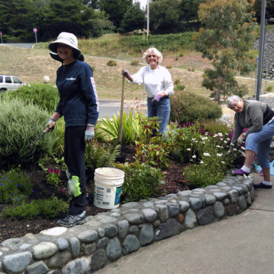 Terry Shannon, Linda Stokes, and Barbara Johnson weed Anita's Garden.