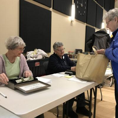 Maureen & Linda cashier at Book Sale on Saturday