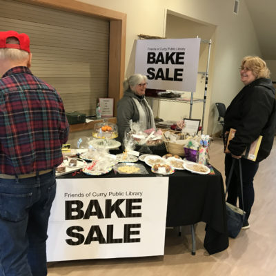 Sue works the Bake Sale