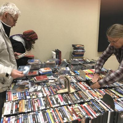 George, Anne & Ali sort DVDs