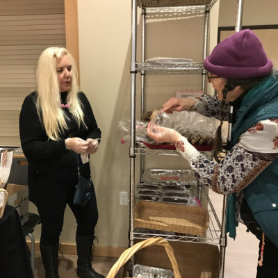 Jessica & Trish set up Bake Sale