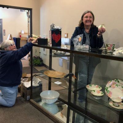 Sue & Nancy ensure that only the most fragile items go in the glass case.
