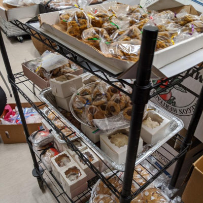 Lorraine & Trish packaged all the baked goods made by Friends...ready to roll!